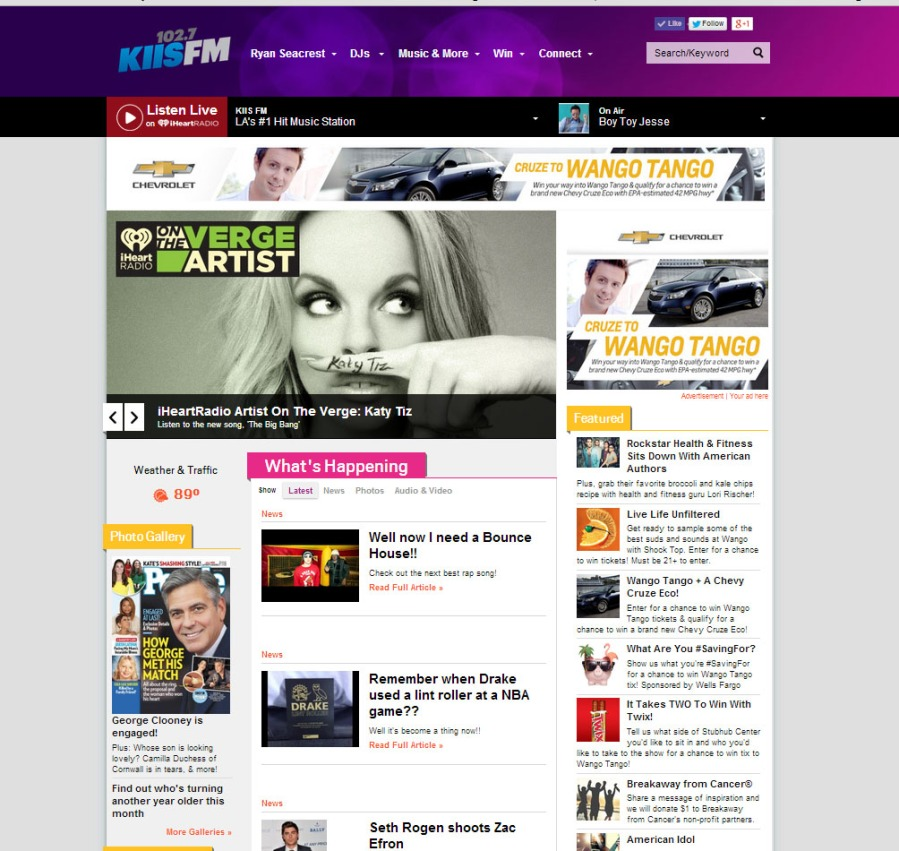 KIIS FM Homepage, layout, design, CMS, template